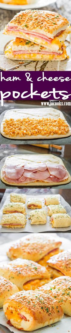 Ham and Cheese Pockets - completely homemade ham and cheese hot pockets! So good and delicious, your whole family will fall in love with these pockets!