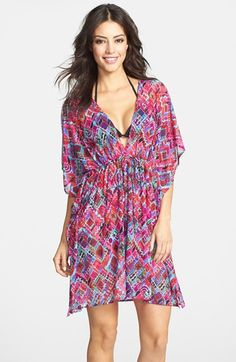 Free shipping and returns on Profile By Gottex 'Mardi Gras' Mesh Cover-Up at Nordstrom.com. A cinched waist gathers the breeze-catching silhouette of a V-neck cover-up splashed in a lively mix of colors and prints.