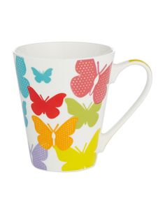 This porcelain V-shape mug features a vibrant butterfly print. #NewandNow