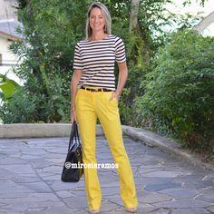 Look de trabalho - look do dia - look corporativo - moda no trabalho - work outfit - office outfit -  spring outfit - look executiva - summer outfit - calça amarela - yellow pants - listras - black and white - preto e Branco