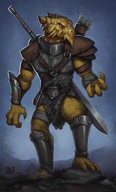 D&D - Dragonborn Bounty Hunter, Dylan Quinn on ArtStation at https://www.artstation.com/artwork/62YPO