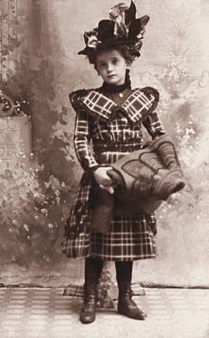 +~+~ Antique Photograph ~+~+  Young lady in her finest plaid dress and hat. ca. 1885