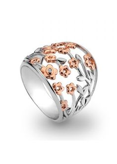 Hot Diamonds Shades of Spring 18ct Rose Gold Blossom Ring