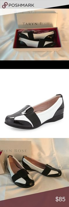Brand new Taryn Rose Loafers, size 8 Sold out at Neiman Marcus $105. Never worn. Beautiful natural leather and patent leather features enhanced arch support. They are as beautiful as they are good for your feet Taryn Rose Shoes Flats & Loafers