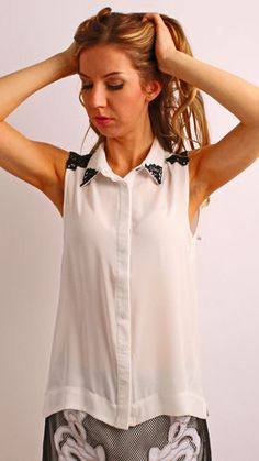 White With Black Embroidery Top
