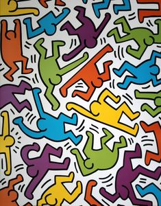 Keith HARING : Sans Titre 1983 (Multicolored characters)
