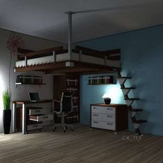 99 Cozy Small Rooms Design Ideas For Teens To Copy : - There are lots of really clever decorating ideas that can be put into practice to reduce the onerous nature of decorating teen rooms for small spaces . Loft Beds For Small Rooms, Cool Loft Beds, Small Room Bedroom, Bedroom Loft, Bedroom Decor, Bedroom Ideas, Boys Bedroom Furniture, Loft Furniture, Bedding Decor