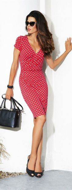 Red polka dot summer dress. Street style