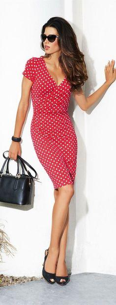 Red polka dot summer dress. Street style