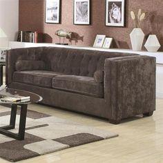 Alexis Charcoal Wood Fabric Sofa