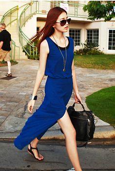 Sexy Fashion Slim Split Sleeveless Chiffon Dress