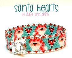 SANTA HEARTS Beaded Bracelet Pattern | Bead-Patterns.com Beaded Bracelet Patterns, Peyote Patterns, Loom Patterns, Heart Bracelet, Jewelry Patterns, Beading Patterns, Beading Ideas, Beading Tutorials, Colors