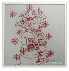 Joanie's Quilts: Redwork Snowman and Some Great Recipes