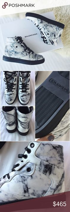 Balenciaga Marble Print High Top Sneakers •Modern marble printed leather sneakers by Balenciaga. Palladium metal finishing. 5mm arch. Made in Spain.  •Size EU36, true to size, best for a size US6.  •This was a floor display shoe but it is still in brand new condition. Original box and dustbag are included.    •NO TRADES/HOLDS/PAYPAL/MERC/VINTED/NONSENSE. Balenciaga Shoes Sneakers