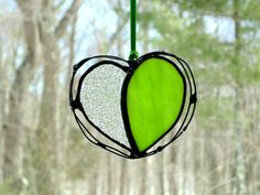 Lime green stained glass heart suncatcher by DesignsStainedGlass