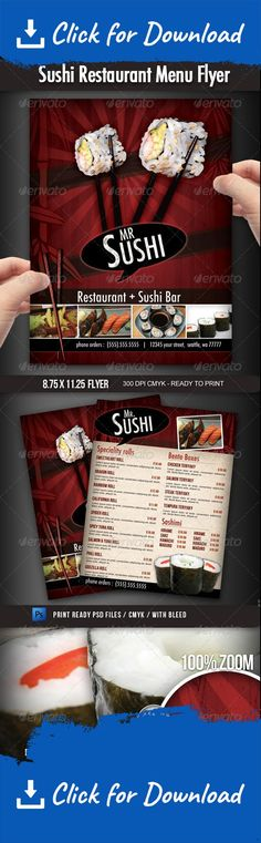 california roll, chinese food restaurant, fast food, food menu, japan, japanese, japanese food restaurant, menu, restaurant, sashimi, sushi flyer, Sushi food, sushi menu, sushi menu  to go, sushi restaurant, to go menu A great design for a sushi restaurant, you can use this flyer to advertise your business and promote your menu items with style. This 8.5×11 (with bleed area) 300 dpi  CMYK  flyer can be easily personalized with your own information, prices, pictures, etc.   This file do...