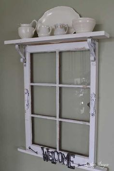 This site has many upcycling ideas for the home. I like the idea of adding a shelf across the top of an old window frame. Idea for Pilgrim Firs window frame? Window Frame Decor, Old Window Frames, Window Art, Window Panes, Windows Decor, Porch Windows, Decorating Old Windows, Old Window Ideas, Wooden Windows