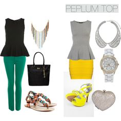 """HOW TO WEAR: PEPLUM TOPS"" by danasfashionblog on Polyvore"