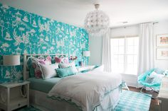 turquoise teen bedroom | Colordrunk Designs