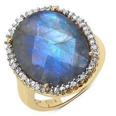 14K Yellow Gold Plated 15.86 Carat Genuine White Diamond & Labradorite .925 Sterling Silver Ring