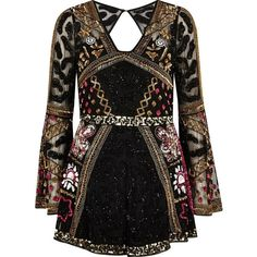 River Island Black bead embellished kimono sleeve romper ($250) ❤ liked on Polyvore featuring jumpsuits, rompers, romper, black, rompers/ jumpsuits, women, sequin romper, tall jumpsuit, river island and playsuit romper