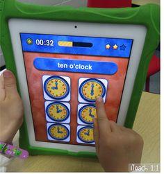 Free Telling Time Apps for the iPad also great suggestions for using QR codes… Teaching Time, Teaching Math, Teaching Spanish, Math Classroom, Kindergarten Math, Preschool, Classroom Setting, Classroom Ideas, Fun Math