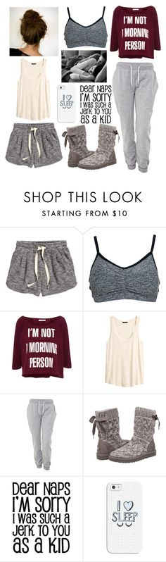 """#7 Lazy Day"" by charlotte-sk ❤ liked on Polyvore featuring H&M, Beyond Yoga, Pull&Bear, White Label, UGG Australia and Casetify"
