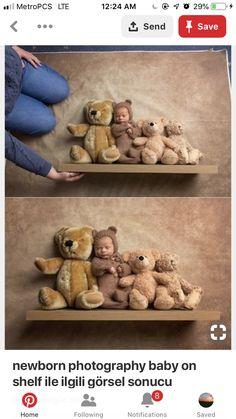 Baby bear on shelf Easter Pictures, Cute Baby Pictures, Newborn Pictures, Newborn Poses, Newborn Shoot, Sibling Photos, Pregnancy Photos, Toddler Photos, Baby E