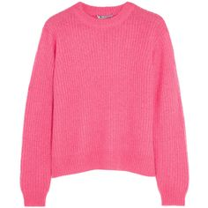 T by Alexander Wang Ribbed-knit sweater ($155) ❤ liked on Polyvore featuring tops, sweaters, knit, pink, rib knit sweater, t by alexander wang, t by alexander wang sweater, ribbed knit sweater and ribbed knit top