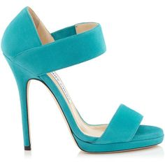 Jimmy Choo LEE Turquoise Suede Sandals ($375) ❤ liked on Polyvore featuring shoes, sandals, heels, jimmy choo, saltos, turquoise, strap shoes, high heel sandals, strappy shoes and strap high heel sandals