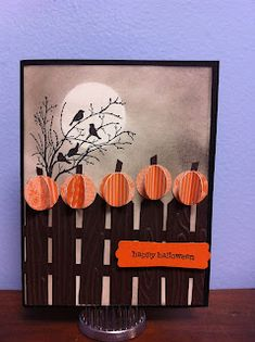 Stampin' Up! ... hand crafted Halloween card ... 5 Little Pumpkins by Crafting in KC ... picket fence with dimensional pumpkins ... sponged night sky with masked moon ...