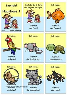 Lesespiel für die Gruppe/ Klassezum Thema Haustiere (Schwerpunkt: Tiere)- Sprechübung- Phrasen: Ich habe... Wer hat...?- Einüben von Phrasen & Sätzen: vorsprechen- nachsprechen- Festigung & Üben des Wortschatzes- Üben des Akkusativs- Nomen + bestimmter Artikel- NomendeklinationDazu passend gibt es folgende Materialien:-) Bildwörterbuch + AB + Wortschatzliste zur Erarbeitung:https://de.islcollective.com/resources/printables/worksheets_doc_docx/haustie...