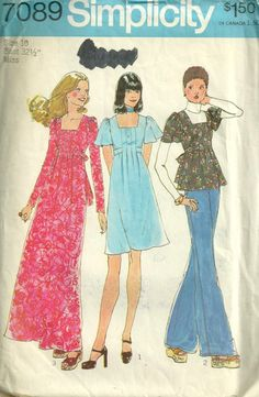 Simplicity 7089  1970s Misses  Tucked Dress  and Top by mbchills, womens vintage sewing pattern