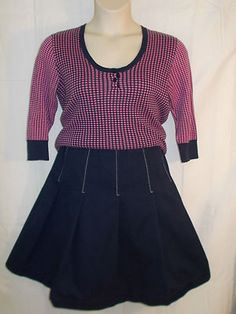 Isaac Mizrahi for Target polka dot sweater and navy blue A-line skirt. $18