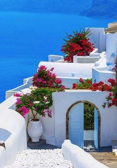 Greece Travel Inspiration - blue and red in strong contrast to white