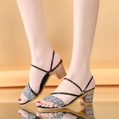 Buy, Square High Heel Open Toe Elegant Women Summer Shoes are available at 4colordress.com! Now, $24.99 & Free Shipping. #Square #High #Heel #Open #Toe #Summer #Women #Shoes Thick Heels, Chunky Heels, Hot Shoes, Women's Shoes, Rhinestone Sandals, Womens Summer Shoes, Sandals For Sale, Fashion Sandals, Open Toe Sandals
