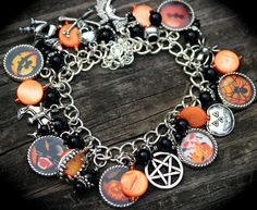 Halloween Charm Bracelet - Witch - Vampires - Jack O Lantern - Trick or Treat - All Hallows Eve - Spooky - Magic - Holiday Photo Jewelry by AlteredXpressions on Etsy