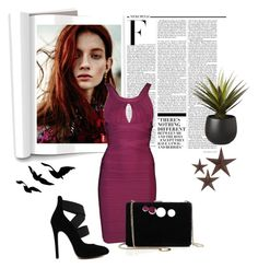 """Purple style #1"" by wynter-393 ❤ liked on Polyvore featuring Hervé Léger, STELLA McCARTNEY, Nicki Minaj, jcp and CB2"