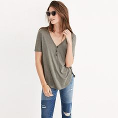 Smooth, soft and drapey—this throw-on-and-go henley tee is made for denim everything (i.e., high-risers, jean jackets, etc.). <ul><li>Drapey fit.</li><li>Lyocell.</li><li>Hand wash.</li><li>Import.</li></ul>