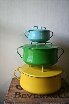 dansk, an american company, worked with danish designer jens quistgaard from the mid-50?s through the 80?s. made of enameled form sheet metal, the kobenstyle collection is modern and practical, with a variety of colors, and considerably lighter than le crueset cast iron cookware. My parents had these for 40 years and they are still great!