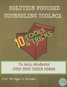 "Expand your school counseling go-to ""tricks""! Inspired by Solution Focused… Elementary School Counseling, School Social Work, School Counselor, Counseling Office, Counseling Activities, Therapy Activities, Solution Focused Therapy, Counseling Techniques, Guidance Lessons"