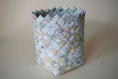 Use old maps, newspaper, or wrapping paper to create a basket.