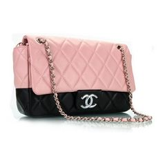Chanel 3311 Classic Pink-Black Flap Bag : found on Polyvore featuring polyvore, women's fashion, bags, handbags, shoulder bags, purses, bolsas, accessories, pink tote and denim tote bag
