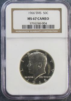 1966 SMS *#NGC MS67 Cameo*  Silver #Kennedy Half Dollar - White Luster!