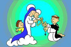 """Este ROSARÍN, en forma de cuento para los niños, ha sido elaborado por la """"Infancia misionera:    La Virgen en el cielo se paseaba muy pre..."""