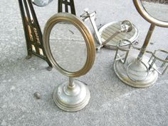 Shaving Mirror / Nickel Plated /  Barber Shop / by assemblage333, $65.00