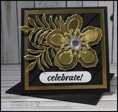 I just had to make some more of these beautiful gold flowers using the Botanical Builder Framelits and Gold Foil Sheet, they are just so ele...