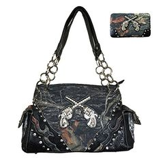 Camouflage Rhinestone Pistol Womens Handbag Purse and Matching Wallet A115117 in Black and Brown Black ** You can find out more details at the link of the image.Note:It is affiliate link to Amazon.