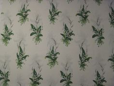 """SANDERSON CURTAIN FABRIC """"Muguet"""" 3.2 METRES EMERALD & IVORY LILY OF THE VALLEY"""