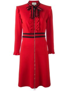 Shop Gucci Web bow jersey dress.